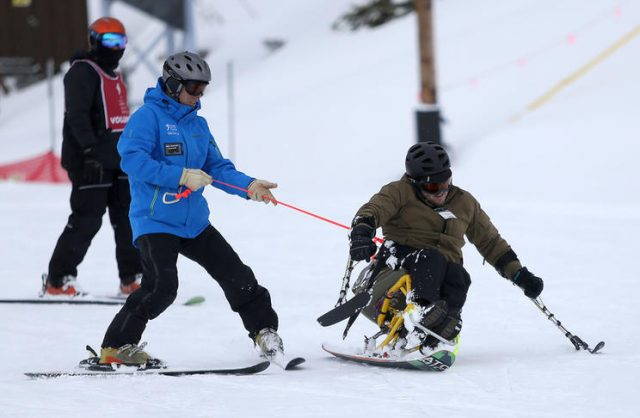Disabled Veterans Learning To Ski